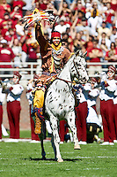 October 16, 2010:    Florida State Seminoles mascot Chief Osceola rids his horse Renegade prior to the start of Atlantic Coast Conference action between the Florida State Seminoles and the Boston College Eagles at Doak Campbell Stadium in Tallahassee, Florida.