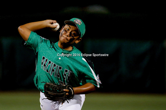 ABERDEEN, MD - AUGUST 01: Jameson Hussey #24 of Honolulu (HI) pitches in the 1st inning during a game between Pacific Southwest and Maryland during the Cal Ripken World Series at The Ripken Experience Powered by Under Armour on August 1, 2016 in Aberdeen, Maryland. (Photo by Ripken Baseball/Eclipse Sportswire/Getty Images)