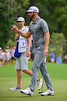 Dustin Johnson (USA) after sinking his putt on 1 during Saturday's round 3 of the PGA Championship at the Quail Hollow Club in Charlotte, North Carolina. 8/12/2017.<br /> Picture: Golffile | Ken Murray<br /> <br /> <br /> All photo usage must carry mandatory copyright credit (&copy; Golffile | Ken Murray)