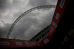 The famous stadium arch on the day of the Npower Championship play-off final between Reading (blue) and Swansea City at Wembley Stadium. The match was won by Swansea by 4 goals to 2 watched by a crowd of 86,581. Swansea became the first Welsh team to reach the top division of English football since they themselves played there in 1983.