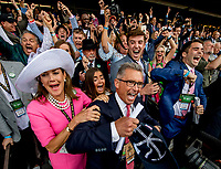 ELMONT, NY - JUNE 09: Kenny Trout and his family celebrate Justify's win during the 150th running of the Belmont Stakes at Belmont Park on June 9, 2018 in Elmont, New York. (Photo by Scott Serio/Eclipse Sportswire/Getty Images)