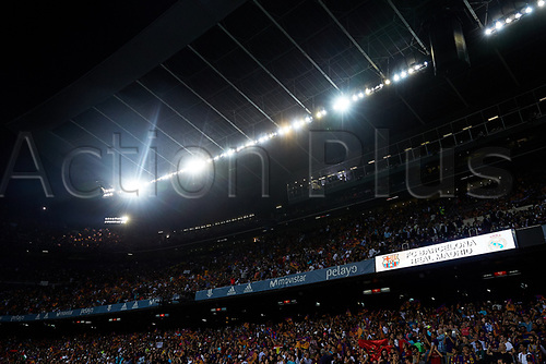 August 13th 2017, Nou Camp, Barcelona, Spain; Spanish Football Supercopa 1st Leg FC Barcelona versus Real Madrid; Details of the stands full of fans prior to the game;
