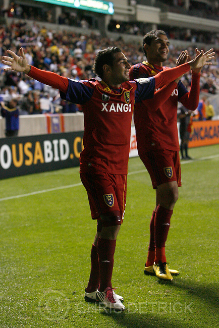 Chris Detrick  |  The Salt Lake Tribune .Real Salt Lake forward Paulo Araujo Junior #23 celebrates after scoring a goal during the first half of the game at Rio Tinto Stadium Tuesday October 19, 2010.  Real Salt Lake is winning the game 1-0. Real Salt Lake forward Pablo Campos #19 is in the background.