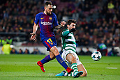 5th December 2017, Camp Nou, Barcelona, Spain; UEFA Champions League football, FC Barcelona versus Sporting Lisbon; Paco Alcacer of FC Barcelona is tackled before the shot gets off