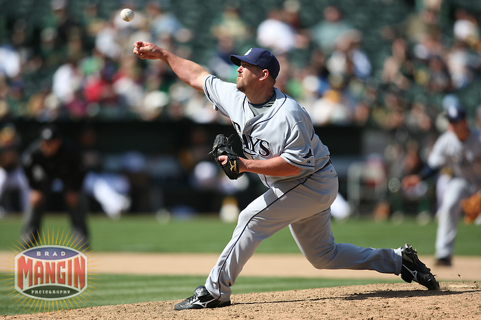OAKLAND, CA - APRIL 25:  Troy Percival of the Tampa Bay Rays pitches during the game against the Oakland Athletics at the Oakland-Alameda County Coliseum in Oakland, California on Saturday, April 25, 2009.  The Athletics defeated the Rays 5-2.  Photo by Brad Mangin