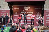 11th Strade Bianche 2017 podium:<br /> 1/ Michal Kwiatkowski (POL/SKY)<br /> 2/ Greg Van Avermaet (BEL/BMC)<br /> 3/ Tim Wellens (BEL/Lotto-Soudal)