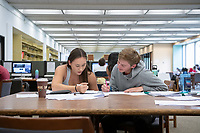 Beatrice Stadler '20 and Ian Van Dusen '20 study statistics<br /> Occidental College students study for finals and write papers during finals week in the Academic Commons/Mary Norton Clapp Library, Monday, May 6, 2019.<br /> (Photo by Marc Campos, Occidental College Photographer)