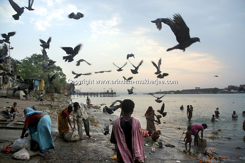 Jagannath Ghat in Calcutta. People uses river (Ganges) water for daily chore polluting the water of the same. With increase in population in the city water cricis increased.