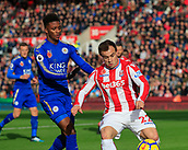 4th November 2017, bet365 Stadium, Stoke-on-Trent, England; EPL Premier League football, Stoke City versus Leicester City; Xherdan Shaqiri of Stoke City shields the ball from Demarai Gray of Leicester City