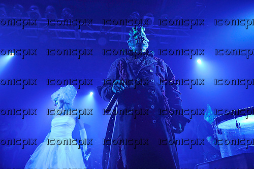 MUSHROOMHEAD - vocalist Jeffrey Hatrix -  performing live at the Electric Ballroom in London UK - 30 Mar 2016.  Photo credit: Zaine Lewis/IconicPix
