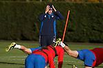 Adam Owen recoils in horror during training