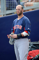 Boston Red Sox second baseman Dustin Pedroia #15 during a Grapefruit League Spring Training game against the Tampa Bay Rays at Charlotte County Sports Park on February 25, 2013 in Port Charlotte, Florida.  Tampa Bay defeated Boston 6-3.  (Mike Janes/Four Seam Images)