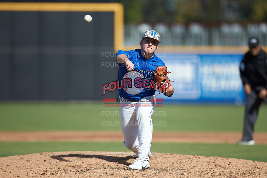 Duke Blue Devils relief pitcher Jack Carey (32) delivers a pitch to the plate against the Coastal Carolina Chanticleers at Segra Stadium on November 2, 2019 in Fayetteville, North Carolina. (Brian Westerholt/Four Seam Images)