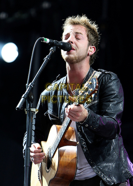 JAMES MORRISON .performs during Hard Rock Calling 2009, Hyde Park, London, England, UK,28th June 2009..music concert gig on stage live festival .half length microphone singing guitar playing black leather jacket .CAP/MAR.©Martin Harris/Capital Pictures