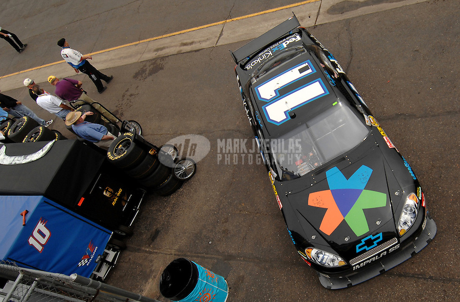 Apr 20, 2007; Avondale, AZ, USA; Nascar Nextel Cup Series driver Denny Hamlin (11) during practice for the Subway Fresh Fit 500 at Phoenix International Raceway. Mandatory Credit: Mark J. Rebilas