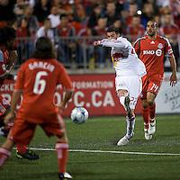 13 June2009:New York Red Bulls midfielder Nick Zimmerman #22 and Toronto FC midfielder Dewayne DeRosario #14 in action during MLS action at BMO Field in Toronto, in a game between the New York Red Bulls and Toronto FC. Toronto FC won 2-1..