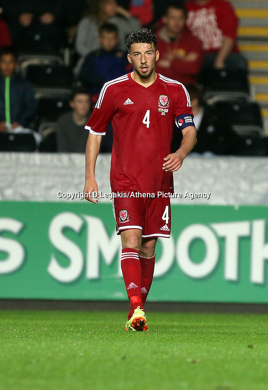 Pictured: Lee Lucas of Wales. Monday 19 May 2014<br /> Re: UEFA Euro Under-21 Qualifier, Wales v England at the Liberty Stadium, Swansea, south Wales, United Kingdom