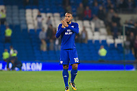 Kenneth Zohore of Cardiff City claps the crowd at full time of the Sky Bet Championship match between Cardiff City and Leeds United at the Cardiff City Stadium, Cardiff, Wales on 26 September 2017. Photo by Mark  Hawkins / PRiME Media Images.