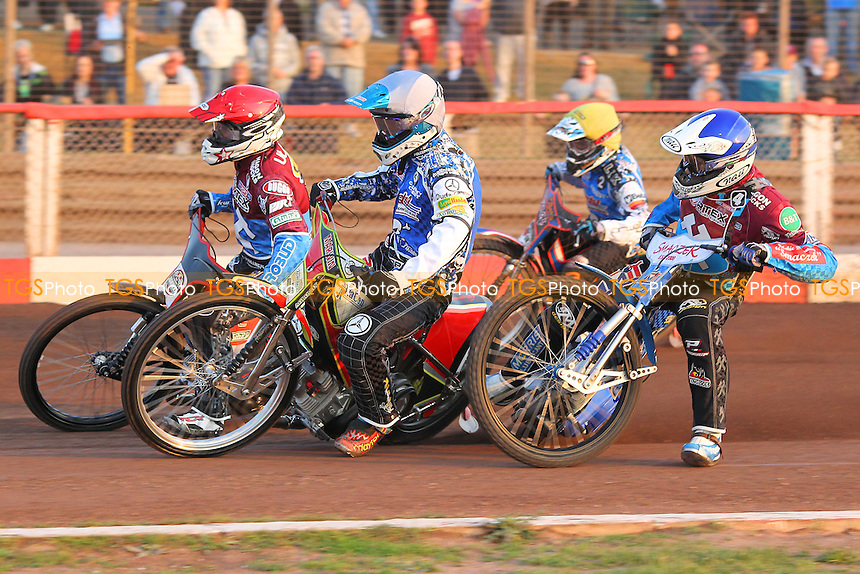 Heat 3: Ulamek (red), Swiderski (blue), Pawlicki (white) and Tungate - Lakeside Hammers vs Poole Pirates - Sky Sports Elite League Speedway at Arena Essex Raceway, Purfleet - 07/06/13 - MANDATORY CREDIT: Gavin Ellis/TGSPHOTO - Self billing applies where appropriate - 0845 094 6026 - contact@tgsphoto.co.uk - NO UNPAID USE