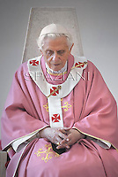 Pope Benedict XVI  mass  during his visit to the San Patrizio parish  of Rome.December 16, 2012