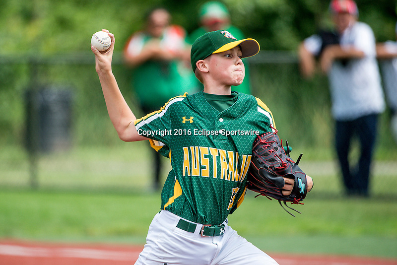 ABERDEEN, MD - AUGUST 02: Riley Yeatman #13 of Australia  pitches against Mexico in a game between Australia and Mexico during the Cal Ripken World Series at The Ripken Experience Powered by Under Armour on August 2, 2016 in Aberdeen, Maryland. (Photo by Ripken Baseball/Eclipse Sportswire/Getty Images)