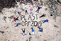 19/01/19<br /> <br /> Children who all volunteered for the beach clean use seaweed to spell out 'PLAST OFF 2019'.<br /> <br /> Volunteers clean beaches near Cable Bay Anglesey to mark the RSPCA's 'PlastOff2019'<br /> <br /> All Rights Reserved, F Stop Press Ltd +44 (0)7765 242650  www.fstoppress.com rod@fstoppress.com