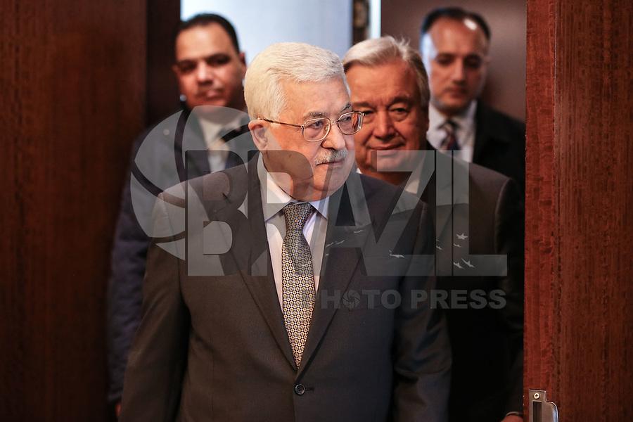 NOVA YORK, EUA, 14.01.2019 - PALESTINA-ONU -O presidente da Palestina  Mahmoud Abbas é visto na sede das Nações Unidas em Nova York nos Estados Unidos nesta segunda-feira, 14.(Foto: William Volcov/Brazil Photo Press)
