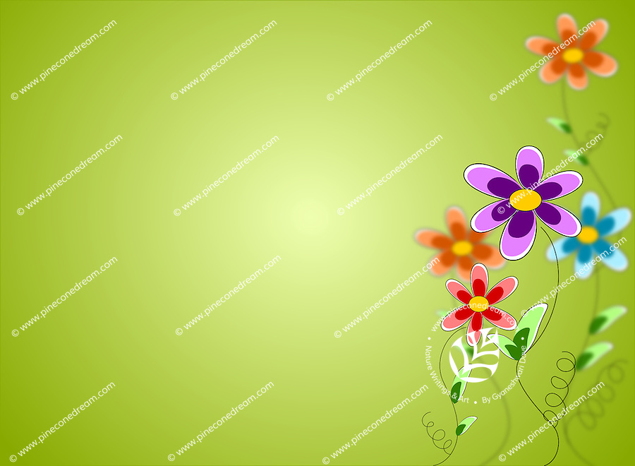 Stock illustration of spring background with colorful flowers and fresh green backdrop.<br />