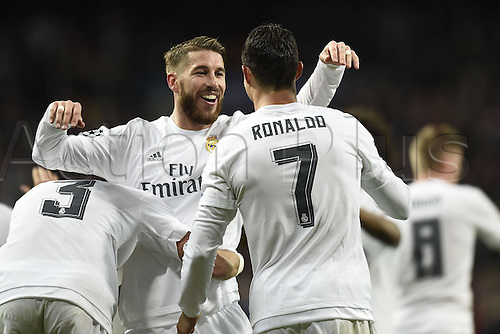 08.03.2016 Estadio Santiago Bernabeu, Madrid, Spain. UEFA Champions League Real Madrid CF versus AS Roma. Last 16 second leg match in Madrid.  Goal celebrations from Cristiano Ronaldo with Ramos