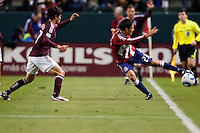 CD Chivas USA rookie forward Marcos Mondaini (23) attempts to keep the ball in play. The Colorado Rapids defeated CD Chivas USA 1-0 at Home Depot Center stadium in Carson, California on Saturday March 26, 2011...
