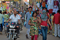 Teenage Muslim Girls in the Streets  in Varanasi India's holiest city.