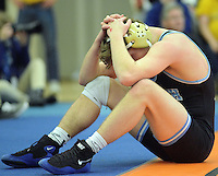 Council Rock South's Eric Tsimberg reacts after being pinned by Boyertown's Gregg Harvey in the 182 pound match Saturday February 6, 2016 at the Upper Dublin High School in Fort Washington, Pennsylvania. (Photo by William Thomas Cain)