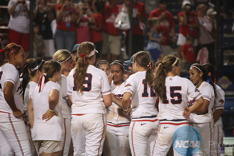 08 JUNE 2010:  UCLA takes on the University of Arizona during the Division I Women's Softball Championship held at ASA Hall of Fame Stadium in Oklahoma City, OK.  Stephen Pingry/NCAA Photos