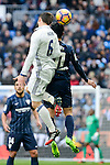 "Real Madrid's Nacho Fernandez and Malaga CF's Gonzalo ""Chory"" Castro during La Liga match between Real Madrid and Malaga CF at Santiago Bernabeu Stadium in Madrid, Spain. January 21, 2017. (ALTERPHOTOS/BorjaB.Hojas)"