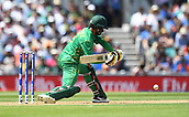 June 18th 2017, The Kia Oval, London, England;  ICC Champions Trophy Cricket Final; India versus Pakistan; Mohammad Hafeez of Pakistan gets down low and plays the ball through the off side