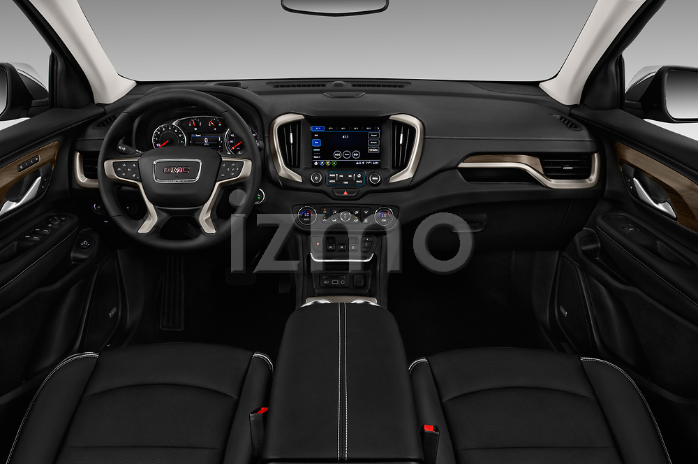 Stock photo of straight dashboard view of a 2018 GMC Terrain Denali base 5 Door SUV