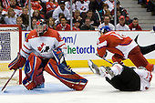 Dustin Tokarski (Canada - 30), Tomas Kubalik (Czech Republic - 18), Cody Goloubef (Canada - 17) - Team Canada defeated the Czech Republic 8-1 on the evening of Friday, December 26, 2008, at Scotiabank Place in Kanata (Ottawa), Ontario during the 2009 World Juniors U20 Championship.