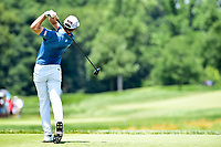 Bethesda, MD - July 1, 2018: Bronson Burgoon hits off the tee at hole 2 during final round of professional play at the Quicken Loans National Tournament at TPC Potomac at Avenel Farm in Bethesda, MD.  (Photo by Phillip Peters/Media Images International)