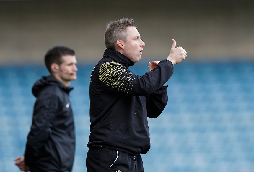 Millwall manager Neil Harris gives the thumbs up to his side<br /> <br /> Photographer Craig Mercer/CameraSport<br /> <br /> Football - The Football League Sky Bet League One - Millwall v Blackpool - Saturday 5th March 2016 - The Den - Millwall<br /> <br /> &copy; CameraSport - 43 Linden Ave. Countesthorpe. Leicester. England. LE8 5PG - Tel: +44 (0) 116 277 4147 - admin@camerasport.com - www.camerasport.com