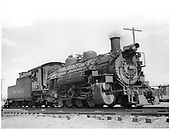 Engineer side view of D&amp;RGW #488 K-36 in Antonito.<br /> D&amp;RGW  Antonito, CO  Taken by Payne, Andy M. - 8/10/1956