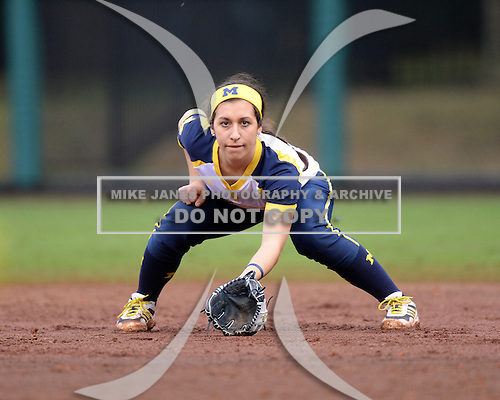 Michigan Wolverines second baseman Abby Ramirez (1) during the teams season opener against the Florida Gators on February 8, 2014 at the USF Softball Stadium in Tampa, Florida.  Florida defeated Michigan 9-4 in extra innings.  (Mike Janes/Four Seam Images via AP Images)