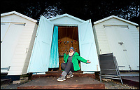 BNPS.co.uk (01202 558833)<br /> Pic: RogerArbon/BNPS<br /> <br /> Penny Evans from Totton who queued overnight to bag one of the beach huts.<br /> <br /> A group of hardy souls combined two great British traditions to queue out overnight to secure a sought-after beach hut for the summer.