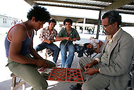 January, 1983. Tijuana, Mexico. Illegal immigrants in jail, playing checkers, and waiting to be deported back to Mexico.