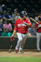 Drew Ward (17) of the Potomac Nationals follows through on his swing against the Winston-Salem Dash at BB&T Ballpark on May 13, 2016 in Winston-Salem, North Carolina.  The Dash defeated the Nationals 5-4 in 11 innings.  (Brian Westerholt/Four Seam Images)