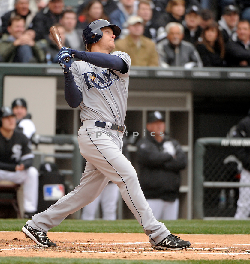 DAN JOHNSON, of the Tampa Bay Rays , in actions during the Rays game against the Chicago White Sox at US Cellular Field on April 7, 2011.  The Chicago White Sox won the game beating the Tampa Bay Rays 5-1.