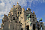 France, Paris.  <br /> Thankful for the nice clouds and warm lighting, while trying to eliminate the masses. Afternoon at Sacre-Coeur Basilica in Paris, France.