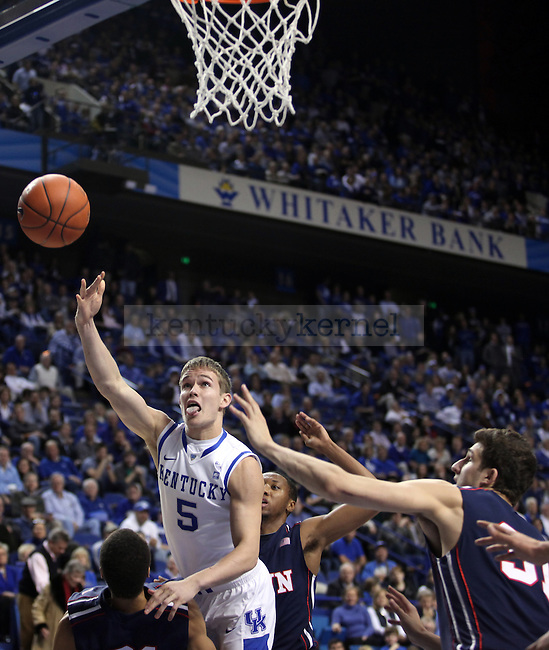 Freshman Jarrod Polson throws up a shot and misses but gets fouled in the second half of UK's win over the Penn Quakers at Rupp Arena on Jan. 3, 2011. Photo by Britney McIntosh | Staff