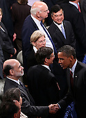 United States President Barack (R) Obama greets Federal Reserve Chairman Ben Bernanke before Federal Reserve Chairman Paul Volcker (top) after signing the Dodd-Frank Wall Street Reform and Consumer Protection Act at the Ronald Reagan Building, Wednesday, July 21, 2010 in Washington, DC. The bill is the strongest financial reform legislation since the Great Depression and also creates a consumer protection bureau that oversees banks on mortgage lending and credit card practices..Credit: Win McNamee - Pool via CNP