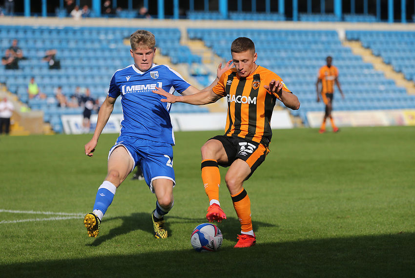 Hull City's Greg Docherty and Gillingham's Scott Robertson<br /> <br /> Photographer Rob Newell/CameraSport<br /> <br /> The EFL Sky Bet League One - Gillingham v Hull City - Saturday September 12th 2020 - Priestfield Stadium - Gillingham<br /> <br /> World Copyright © 2020 CameraSport. All rights reserved. 43 Linden Ave. Countesthorpe. Leicester. England. LE8 5PG - Tel: +44 (0) 116 277 4147 - admin@camerasport.com - www.camerasport.com