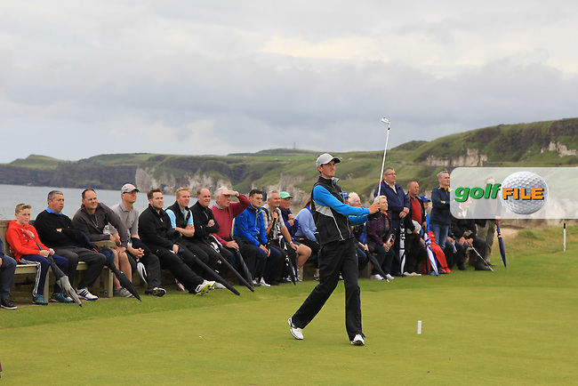 Tiernan McLarnon (Massereene) on the 6th tee during the Final (Matchplay) in the North of Ireland Amateur Open Championship sponsored by Cathedral Eye Clinic at Portrush Golf Club, Portrush on Friday 15th July 2016.<br /> Picture:  Thos Caffrey / www.golffile.ie